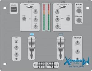 Mixer profissional para DJs de 2 canais