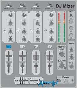 Mixer profissional para DJs de 4 canais